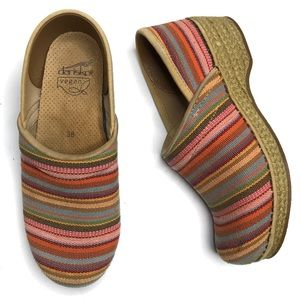 Dansko Vegan Striped Canvas Clogs EU 38